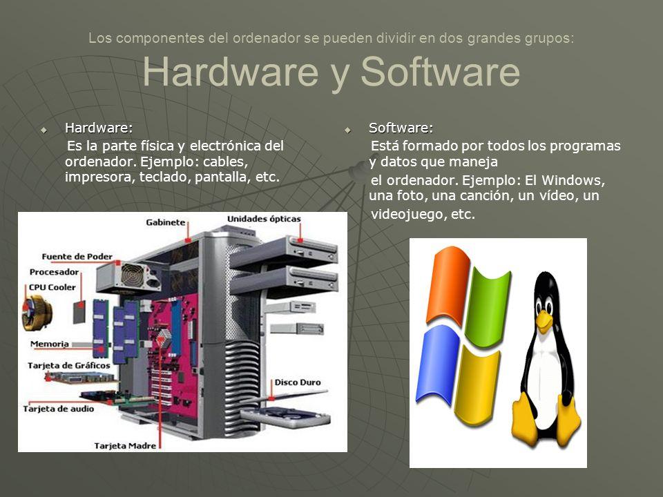 Los componentes del ordenador se pueden dividir en dos grandes grupos: Hardware y Software
