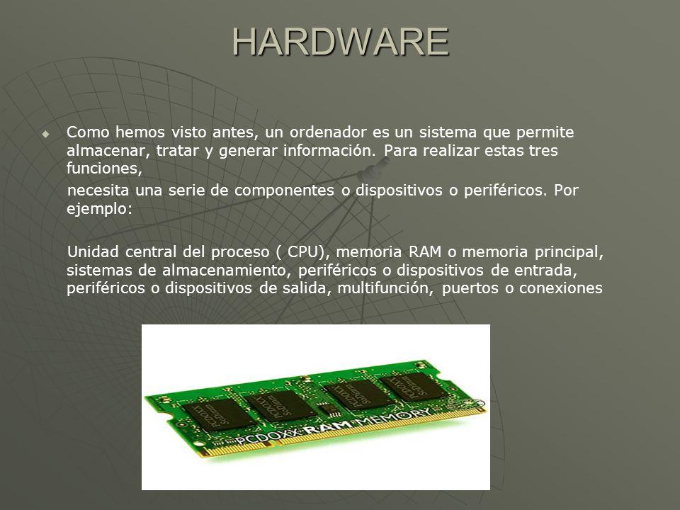 HARDWARE Como hemos visto antes, un ordenador es un sistema que permite almacenar, tratar y generar información. Para realizar estas tres funciones,