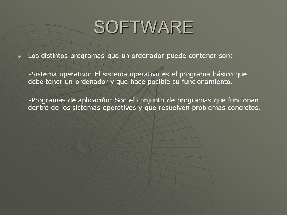 SOFTWARE Los distintos programas que un ordenador puede contener son: