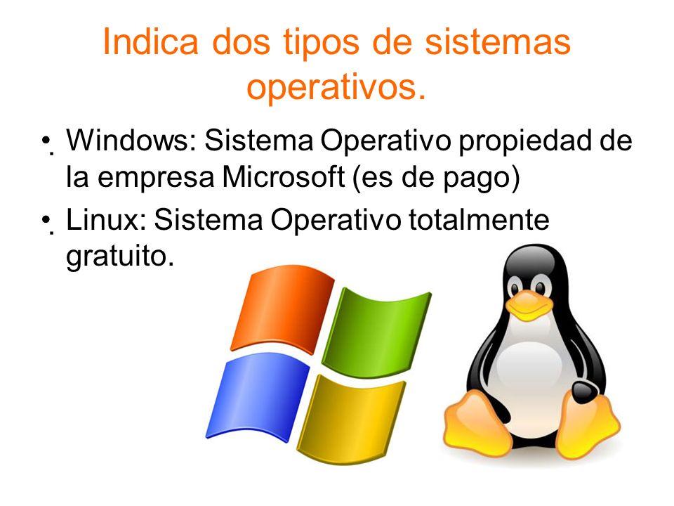 Indica dos tipos de sistemas operativos.