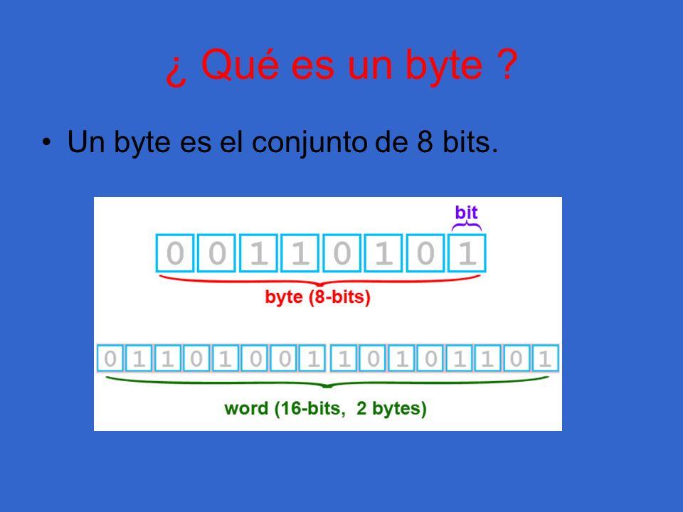 ¿ Qué es un byte Un byte es el conjunto de 8 bits.