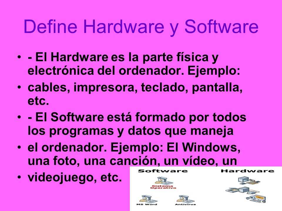 Define Hardware y Software