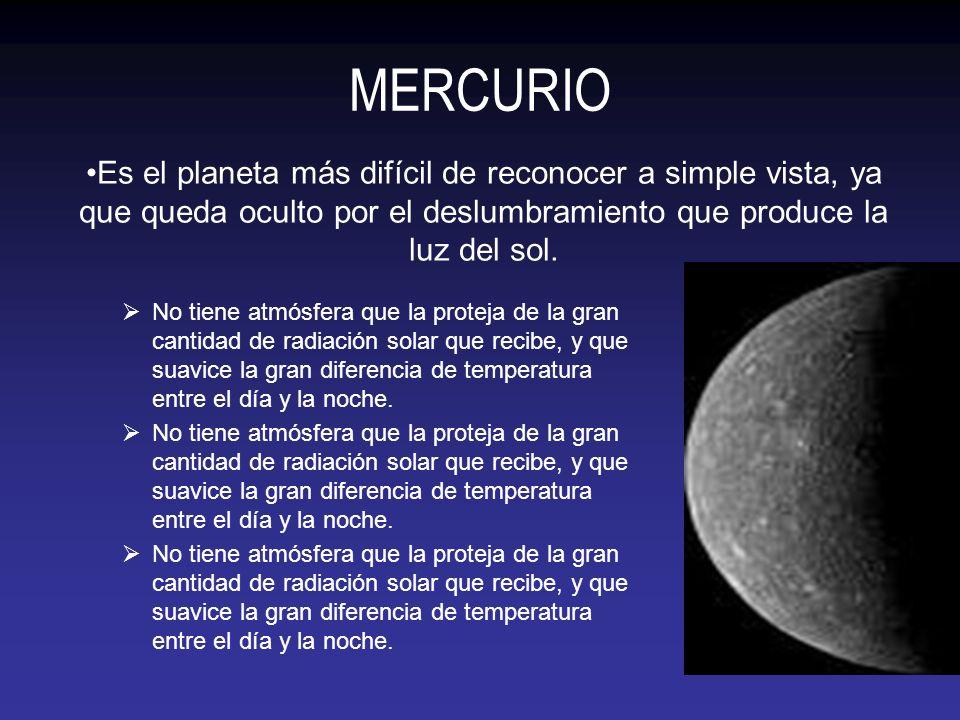 MERCURIO Es el planeta más difícil de reconocer a simple vista, ya que queda oculto por el deslumbramiento que produce la luz del sol.