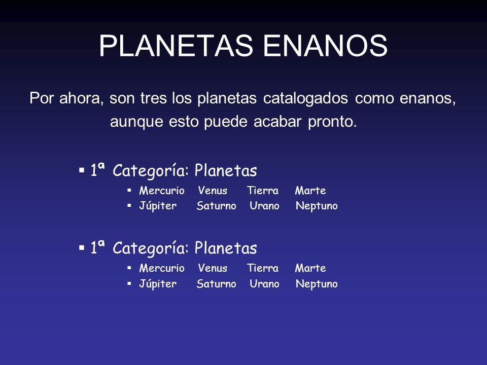 PLANETAS ENANOS Por ahora, son tres los planetas catalogados como enanos, aunque esto puede acabar pronto.