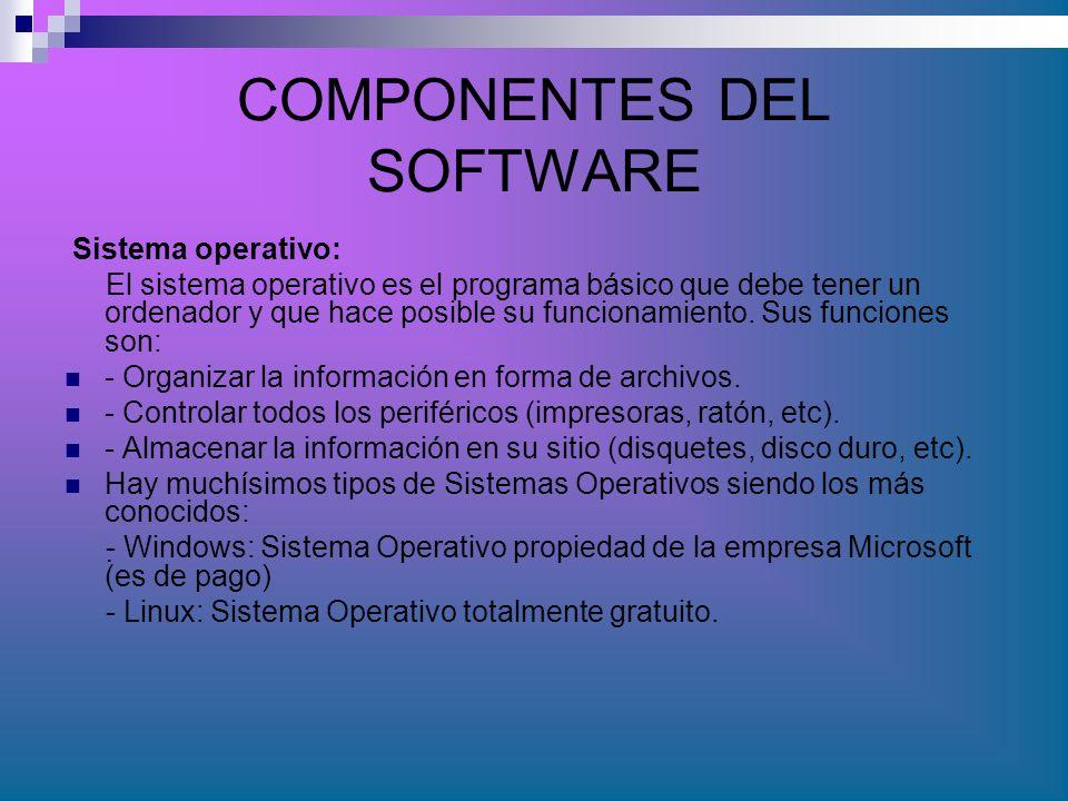 COMPONENTES DEL SOFTWARE