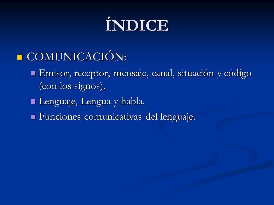 ÍNDICECOMUNICACIÓN: Emisor, receptor, mensaje, canal, situación y código (con los signos). Lenguaje, Lengua y habla.