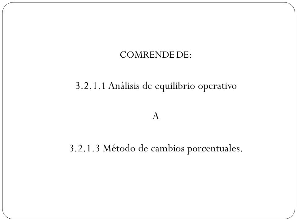 3.2.1.1 Análisis de equilibrio operativo A
