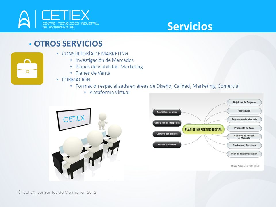 Servicios OTROS SERVICIOS CETIEX CONSULTORÍA DE MARKETING