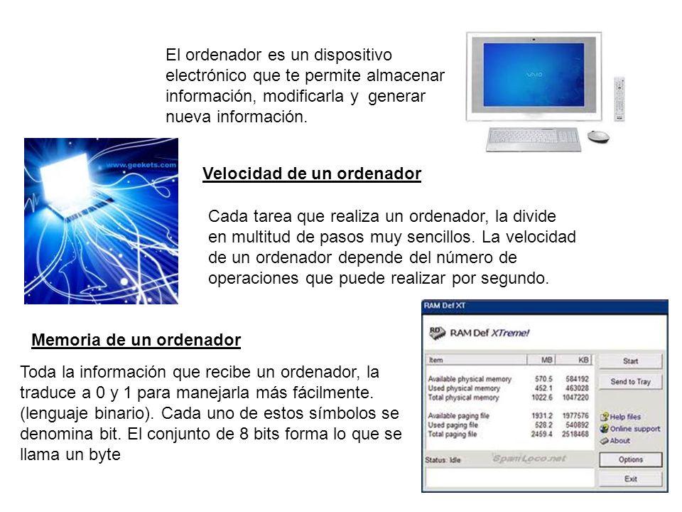 El ordenador es un dispositivo electrónico que te permite almacenar información, modificarla y generar nueva información.