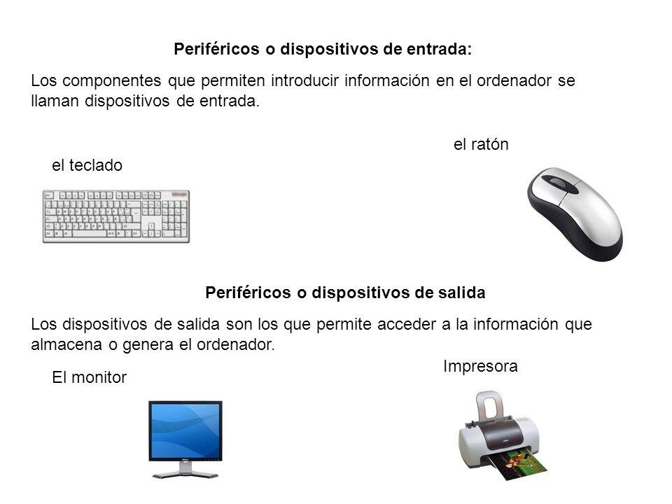 Periféricos o dispositivos de entrada: