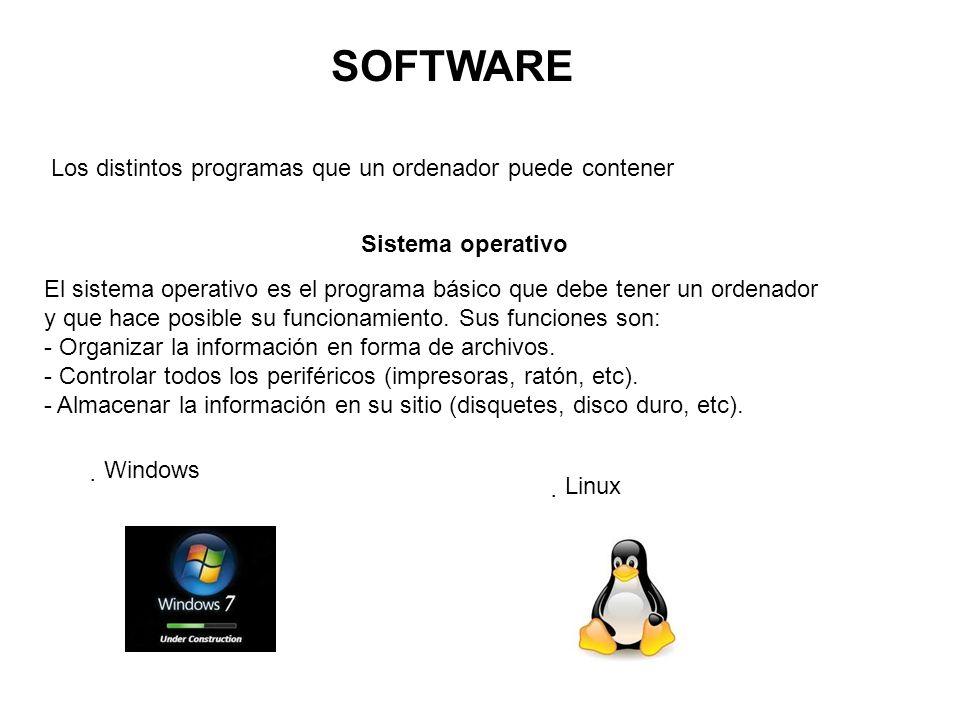 SOFTWARE Los distintos programas que un ordenador puede contener