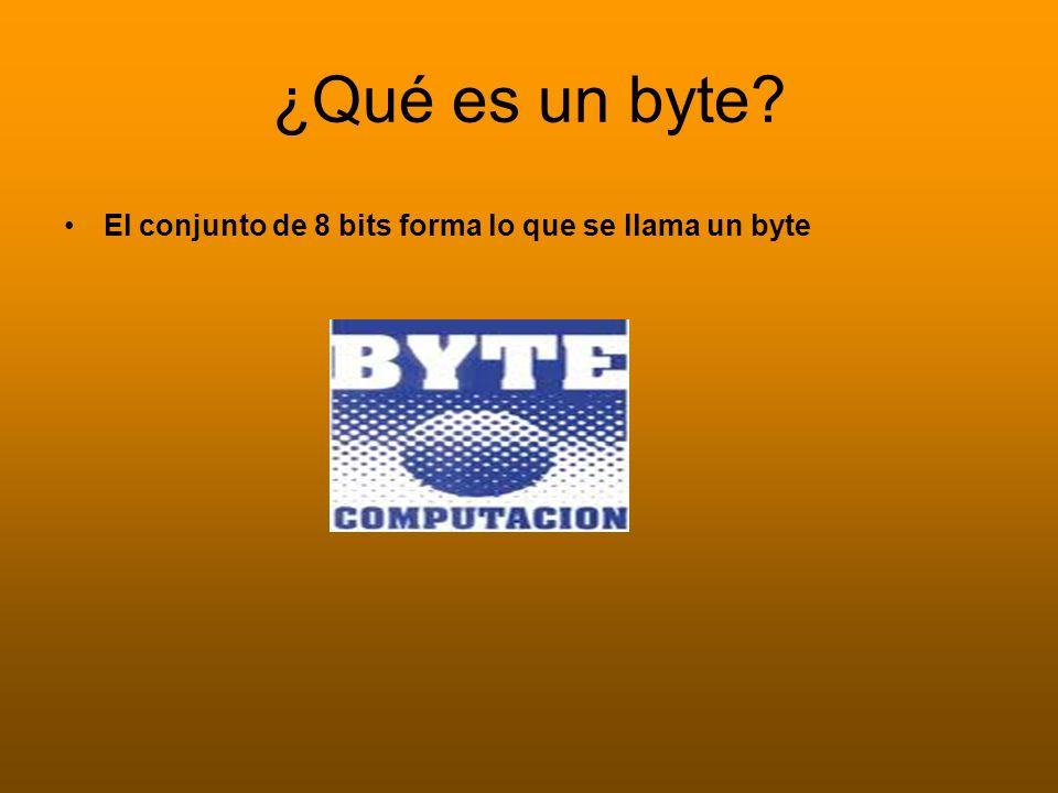 ¿Qué es un byte El conjunto de 8 bits forma lo que se llama un byte