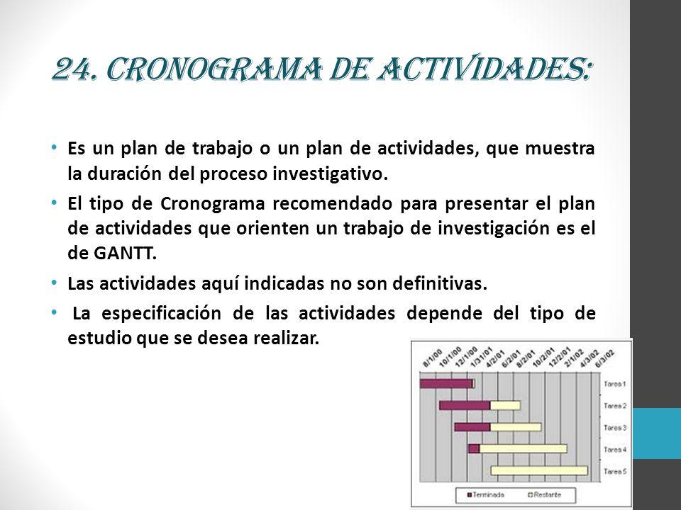 24. Cronograma de actividades: