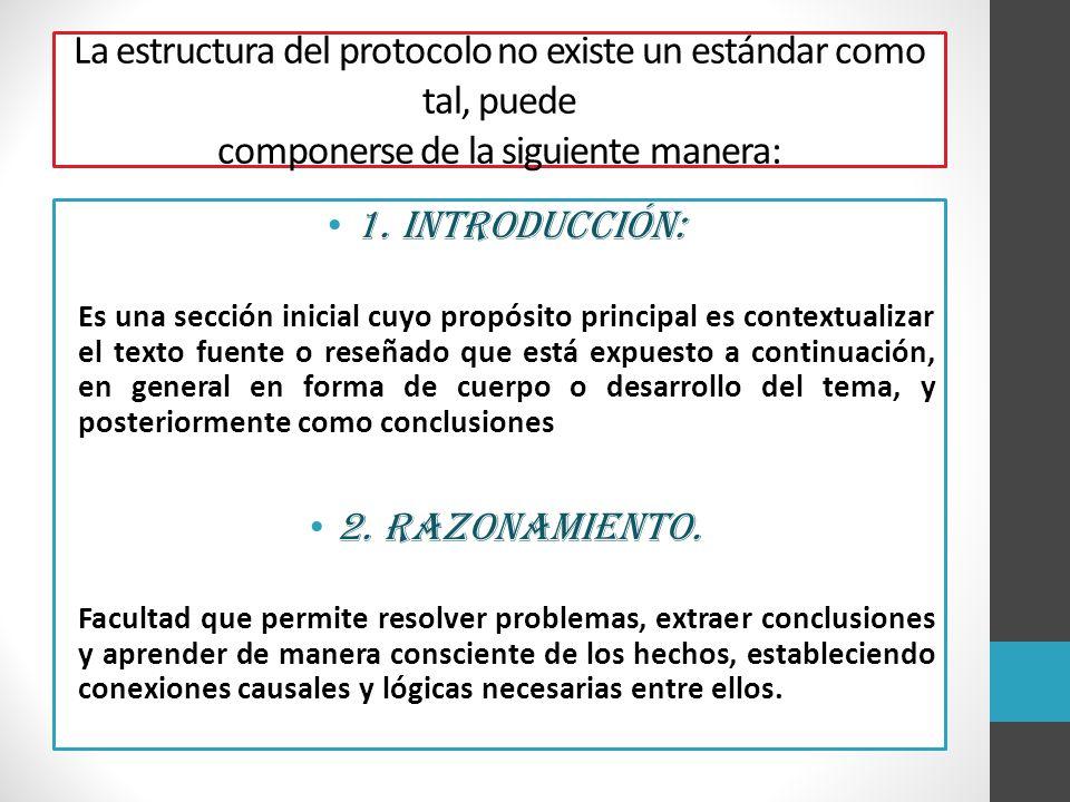 La estructura del protocolo no existe un estándar como tal, puede componerse de la siguiente manera:
