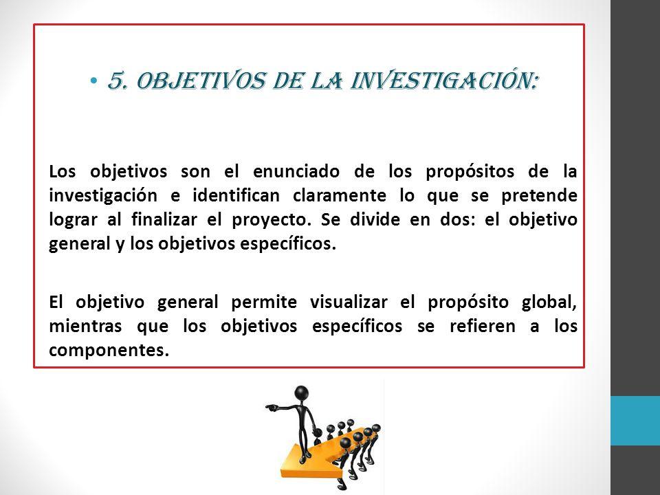 5. Objetivos de la investigación: