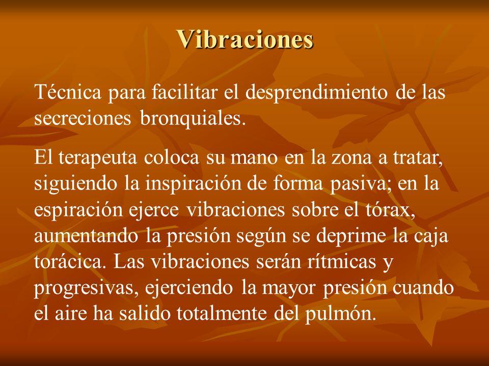 Vibraciones Técnica para facilitar el desprendimiento de las secreciones bronquiales.