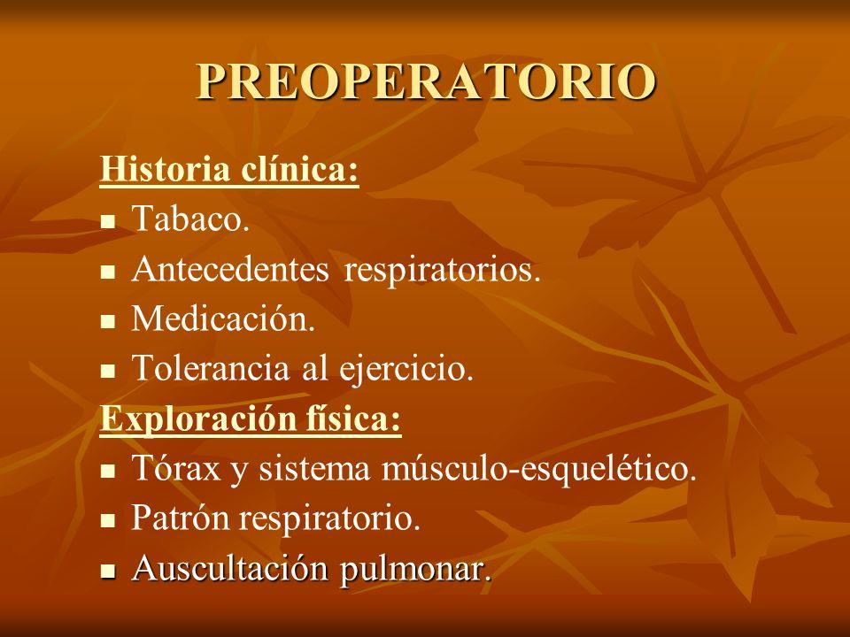 PREOPERATORIO Historia clínica: Tabaco. Antecedentes respiratorios.