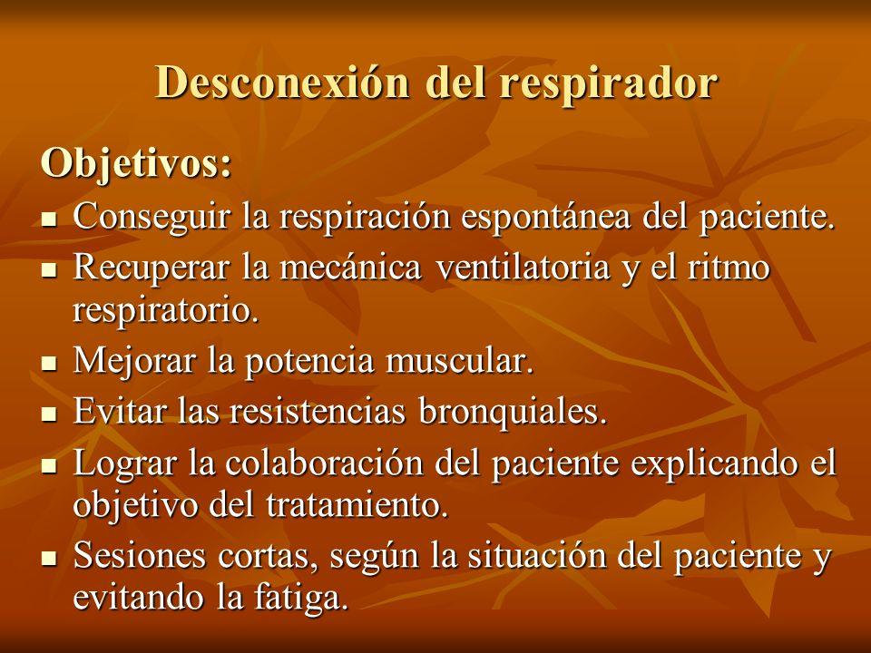 Desconexión del respirador