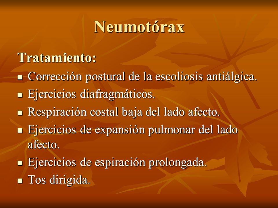 Neumotórax Tratamiento: