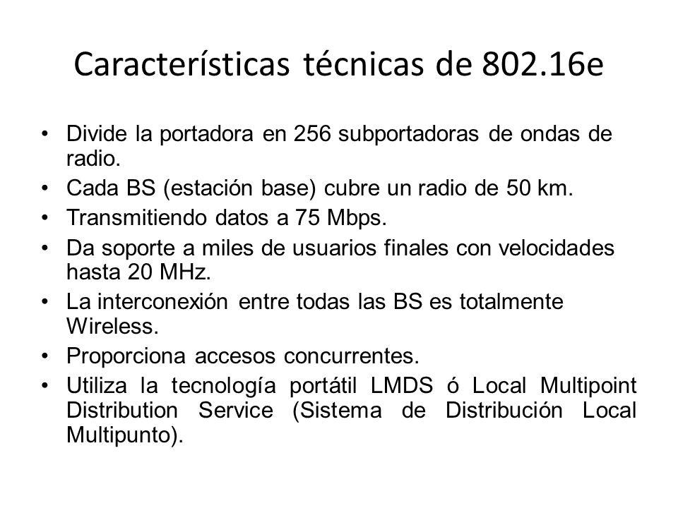Características técnicas de 802.16e