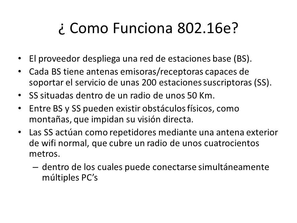 ¿ Como Funciona 802.16e El proveedor despliega una red de estaciones base (BS).