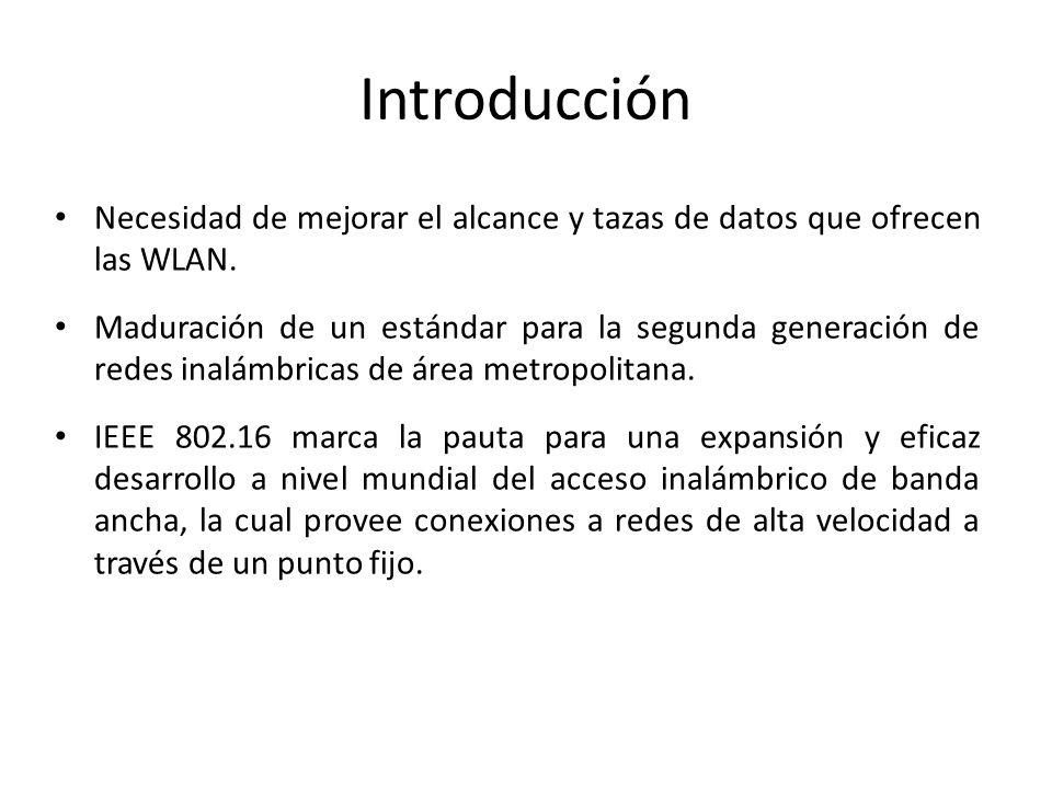 Introducción Necesidad de mejorar el alcance y tazas de datos que ofrecen las WLAN.