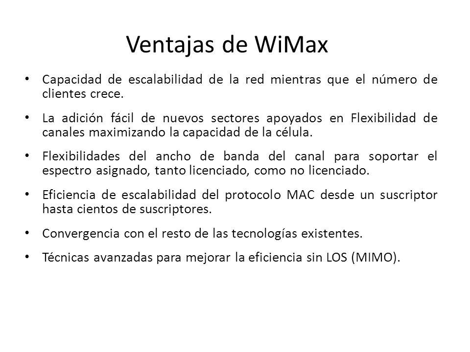 Ventajas de WiMax Capacidad de escalabilidad de la red mientras que el número de clientes crece.