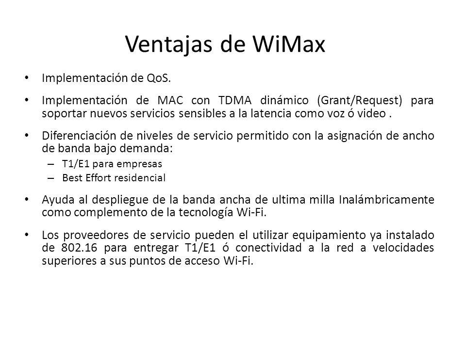 Ventajas de WiMax Implementación de QoS.
