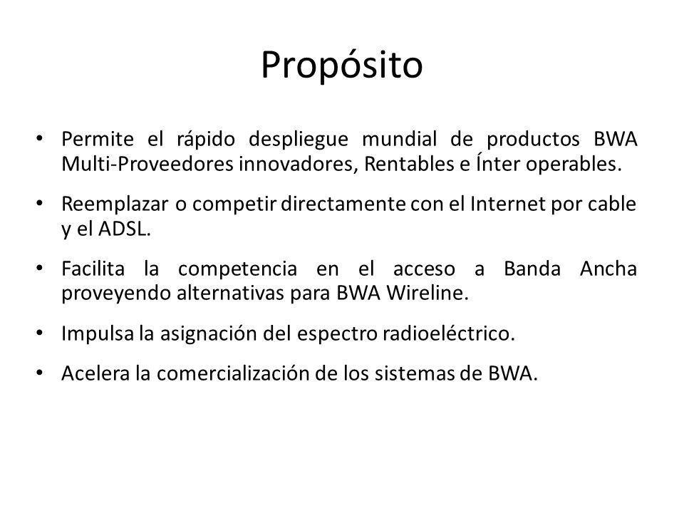 Propósito Permite el rápido despliegue mundial de productos BWA Multi-Proveedores innovadores, Rentables e Ínter operables.