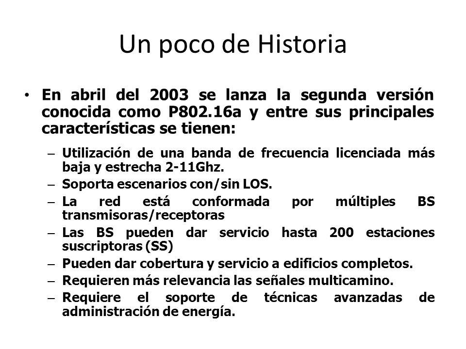 Un poco de Historia En abril del 2003 se lanza la segunda versión conocida como P802.16a y entre sus principales características se tienen: