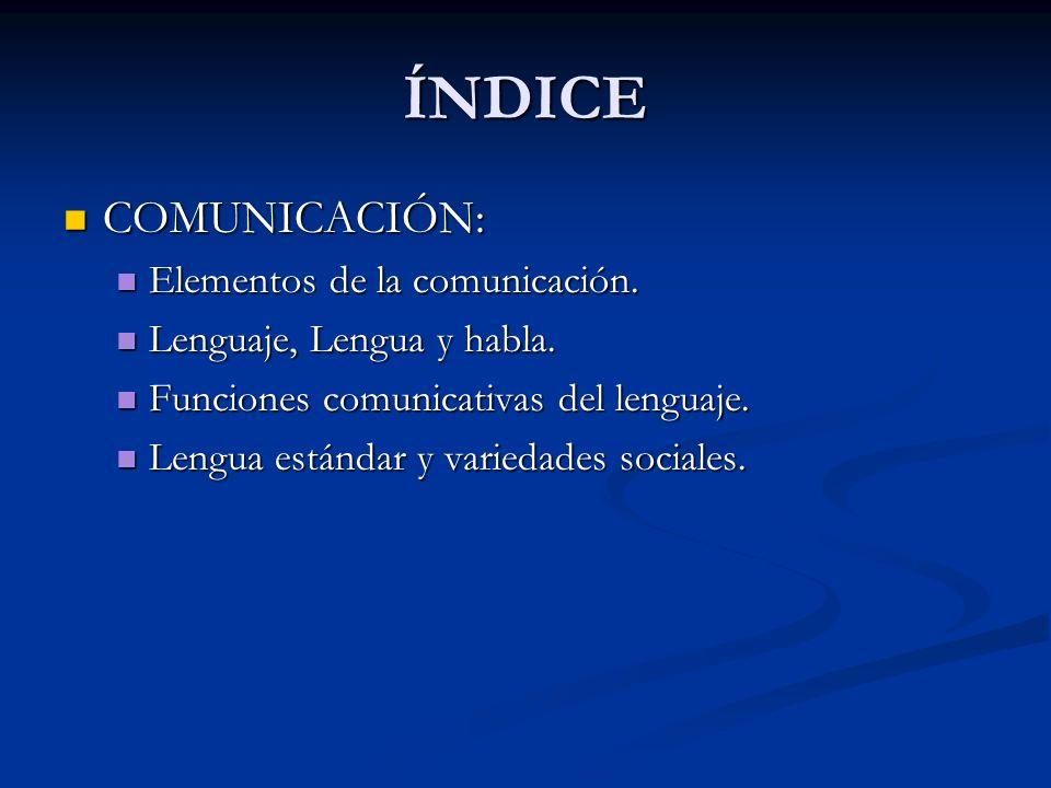 ÍNDICE COMUNICACIÓN: Elementos de la comunicación.