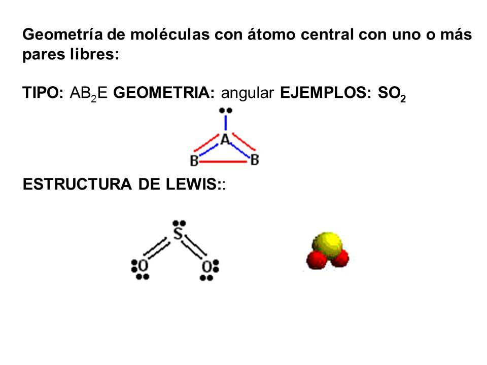 Geometría de moléculas con átomo central con uno o más pares libres: