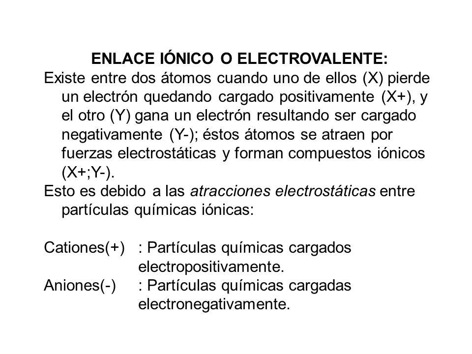 ENLACE IÓNICO O ELECTROVALENTE: