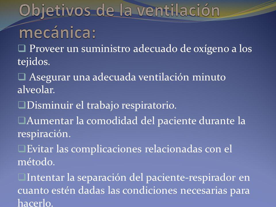 Objetivos de la ventilación mecánica: