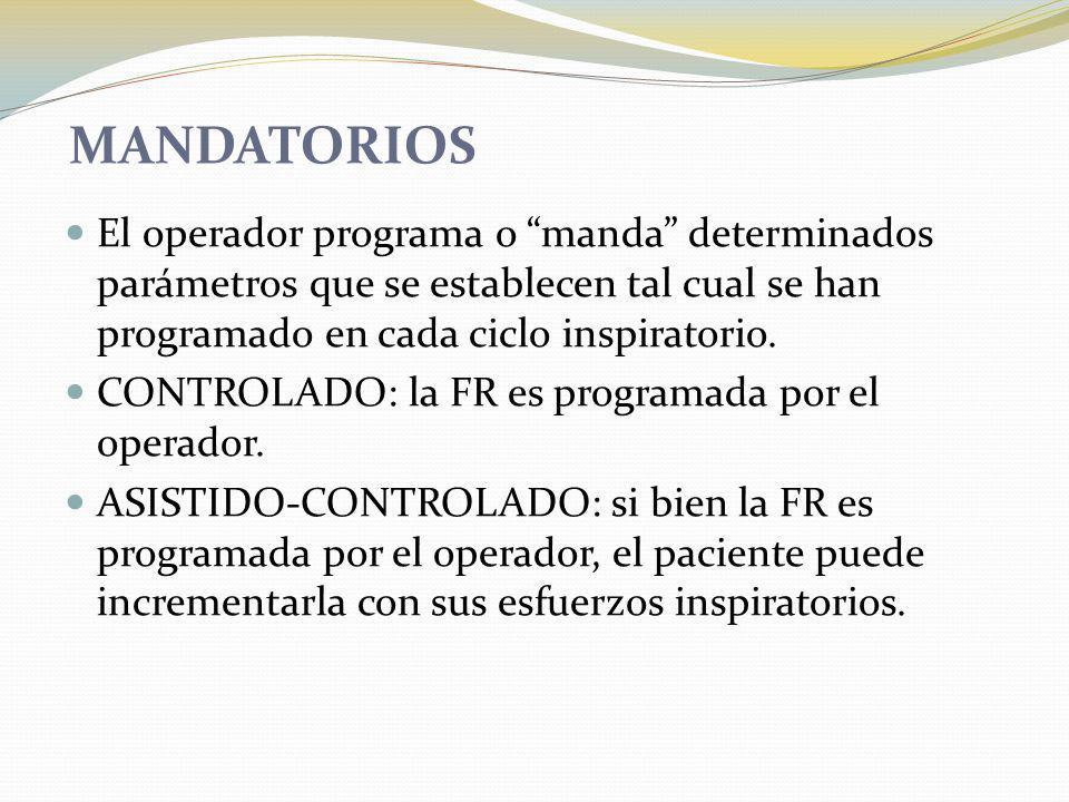 MANDATORIOS El operador programa o manda determinados parámetros que se establecen tal cual se han programado en cada ciclo inspiratorio.