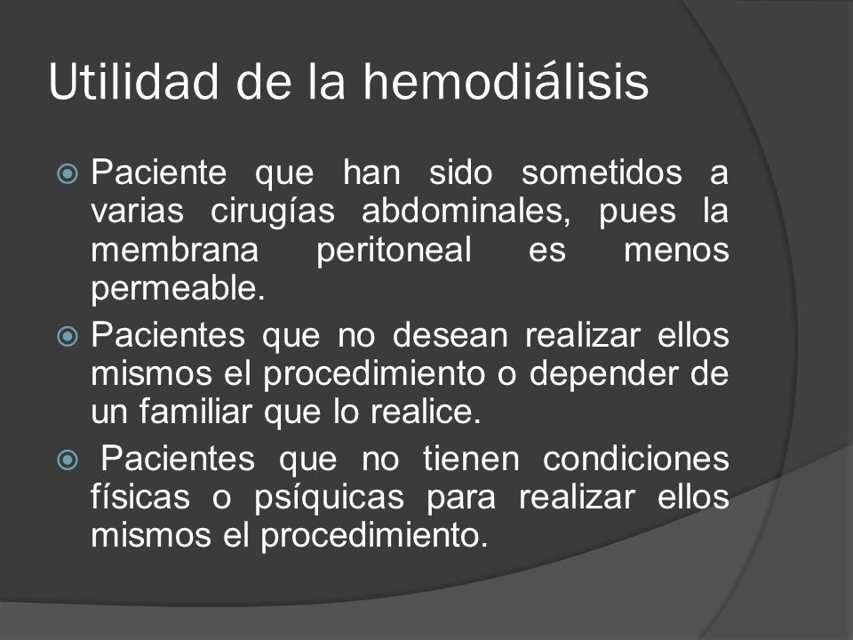 Utilidad de la hemodiálisis