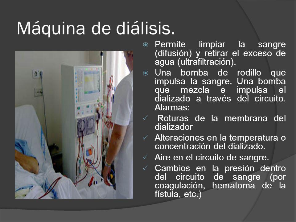 Máquina de diálisis. Permite limpiar la sangre (difusión) y retirar el exceso de agua (ultrafiltración).