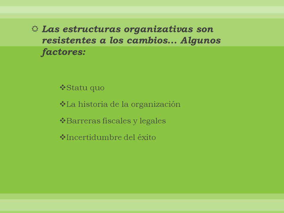 Las estructuras organizativas son resistentes a los cambios