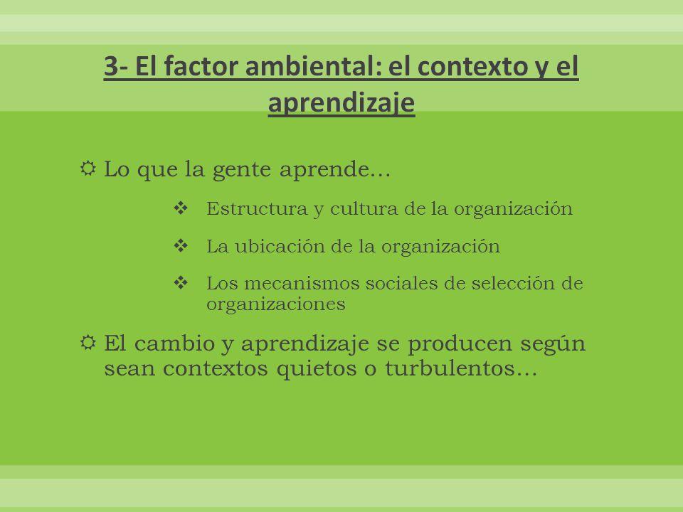 3- El factor ambiental: el contexto y el aprendizaje