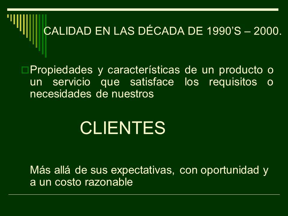CALIDAD EN LAS DÉCADA DE 1990'S – 2000.