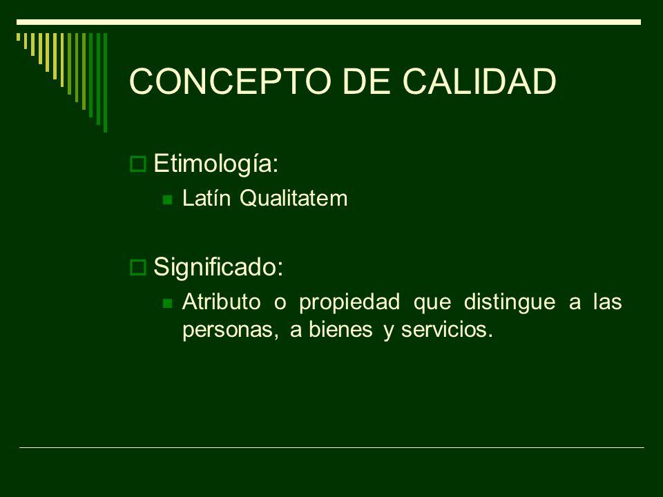 CONCEPTO DE CALIDAD Etimología: Significado: Latín Qualitatem