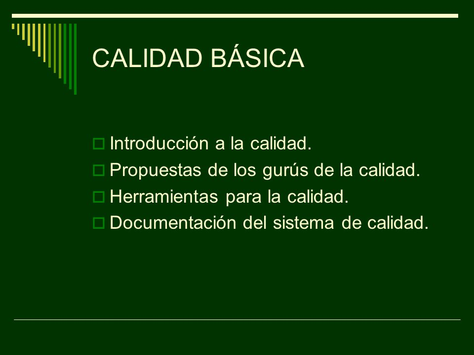 CALIDAD BÁSICA Introducción a la calidad.
