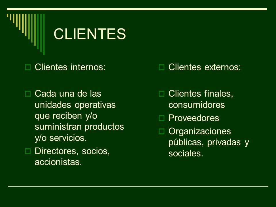 CLIENTES Clientes internos:
