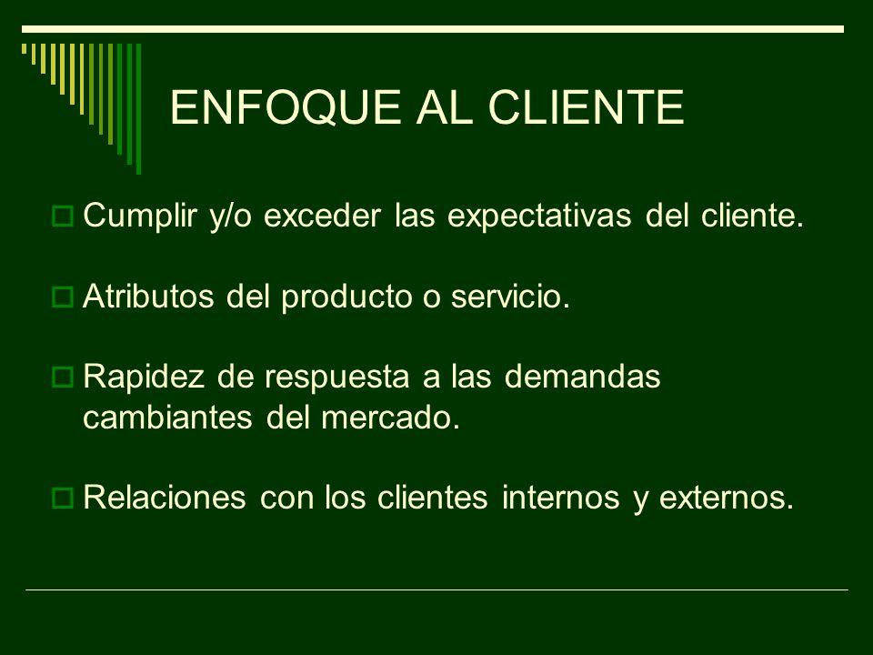 ENFOQUE AL CLIENTE Cumplir y/o exceder las expectativas del cliente.