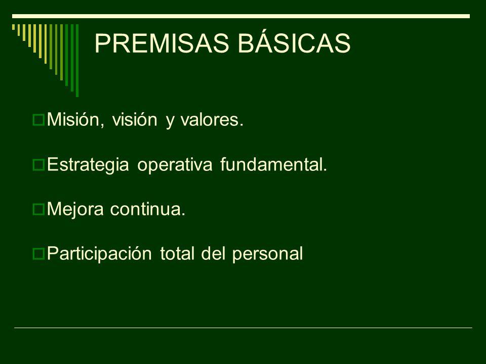 PREMISAS BÁSICAS Misión, visión y valores.