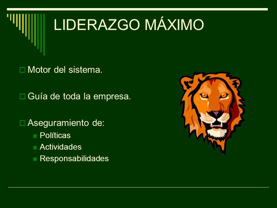 LIDERAZGO MÁXIMO Motor del sistema. Guía de toda la empresa.