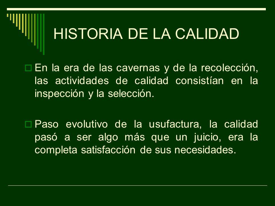 HISTORIA DE LA CALIDAD En la era de las cavernas y de la recolección, las actividades de calidad consistían en la inspección y la selección.