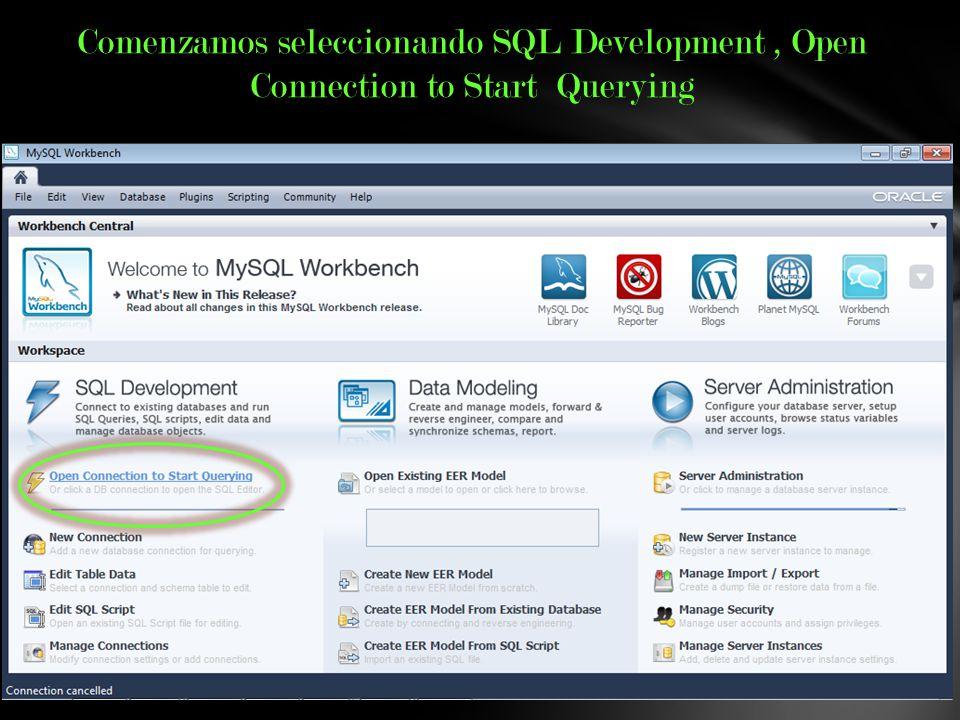 Comenzamos seleccionando SQL Development , Open Connection to Start Querying