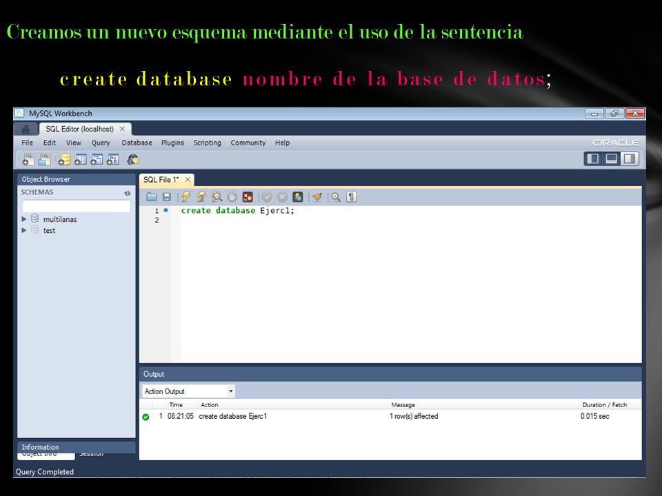 create database nombre de la base de datos;