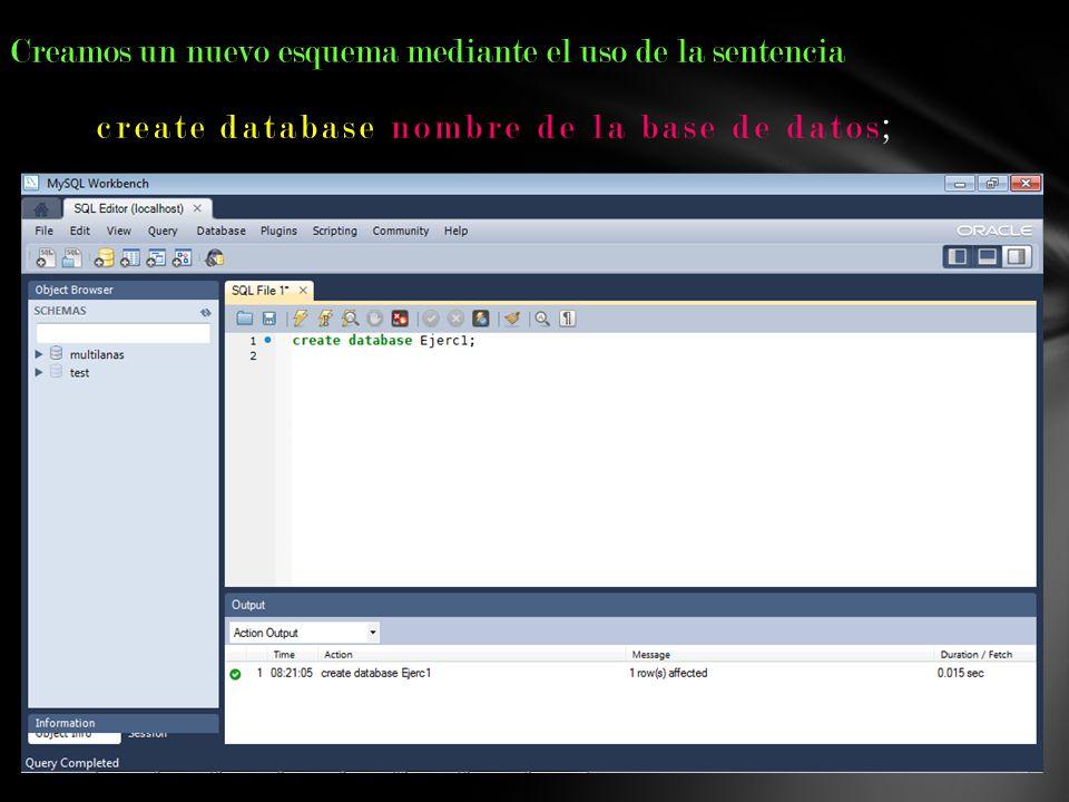 create database nombre de la base de datos;